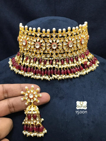 Anushka Sharma wedding bridal red choker kundan necklace with earrings