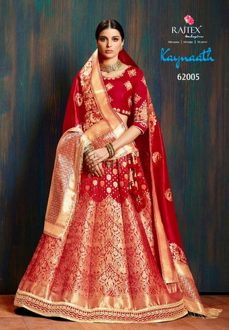 Riwaaz Bridal couture -  Kaynaath Pure Banarasi silk lehenga : Bridal Red