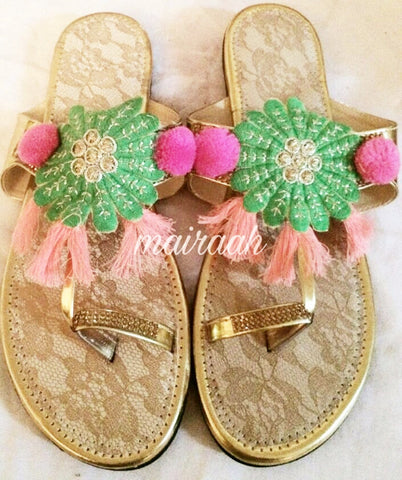 Neon Multicolor KOLHAPURIS WITH tassels