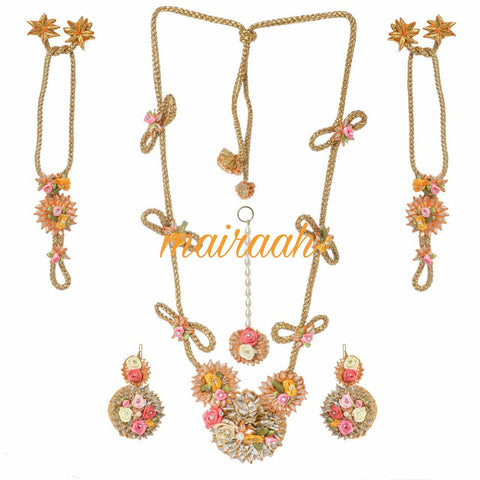 Floral yellow pink  gota patti  jewellery set for Mehndi