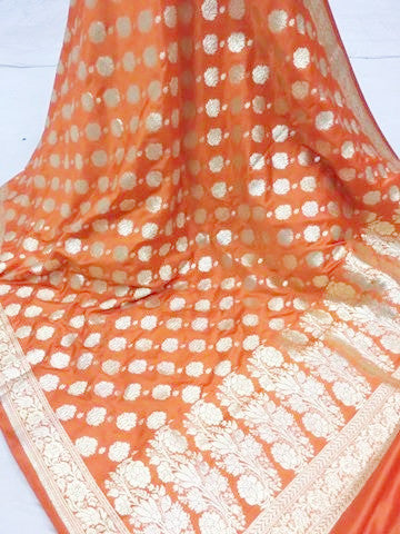 Banarasi style patterned zari woven dupatta - orange gold