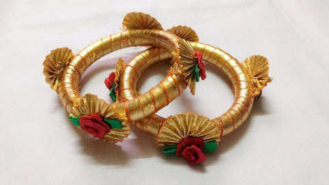 Supushp golden gota bangles with red roses -set of 2