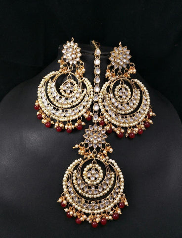 Vivaah Kundan Chaandbali jhumka earrings with maang teeka