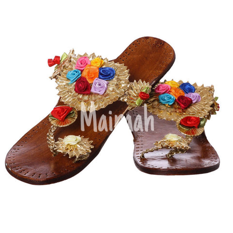 Floral Gota Kolhapuris with multicolor roses