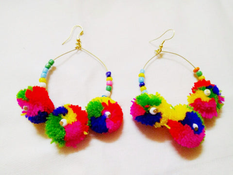 Supushp hoop multicolor pom pom earrings