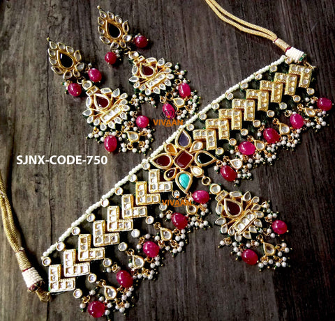 Vivaah choker necklace with earrings - Multicolor