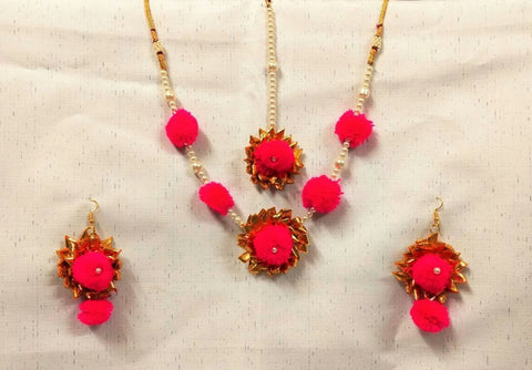 Supushp pink pearls gota jewellery set