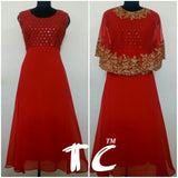 Clemonte Riwaaz red gown with golden cape