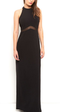 Clemonte BLACK MESH INSERT HALTERNECK MAXI DRESS