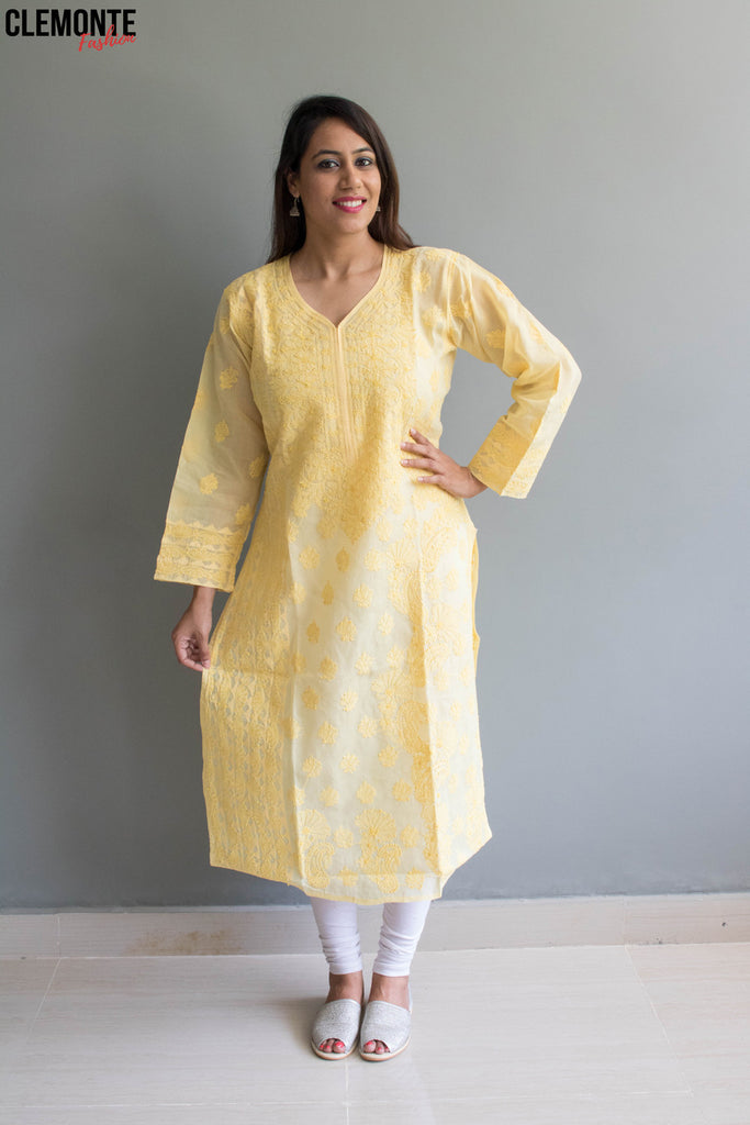 Clemonte hand embroidered silk with resham thread work lucknow chikankari kurta - yellow
