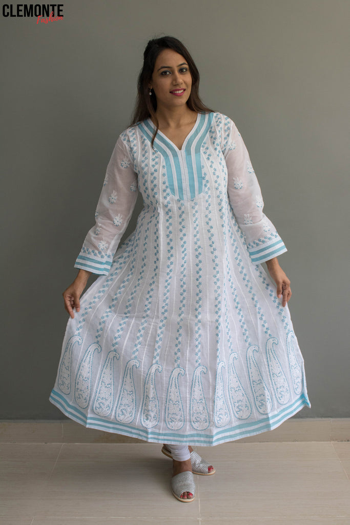 Clemonte hand embroidered cotton anarkali lucknow chikankari kurta - white with blue thread work