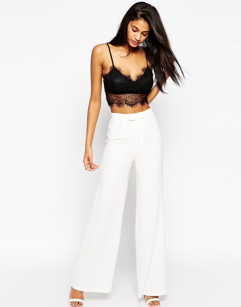Clemonte High waist wide leg trousers - white