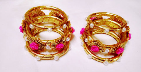 Supushp pink bangles with roses and pearls -set of 2