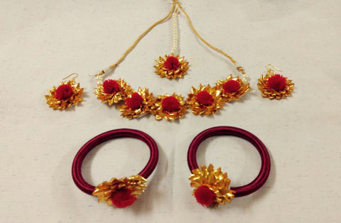 Supushp red golden gota jewellery set