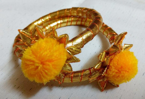 Supushp floral golden yellow gota bangles -set of 2