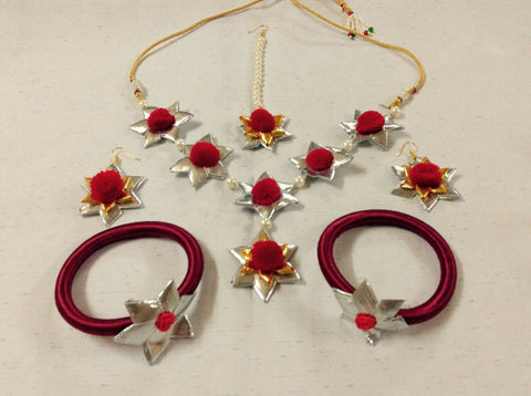 Supushp red silver gota jewellery set
