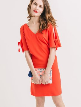 Clemonte Crêpe dress with slit sleeves - Red