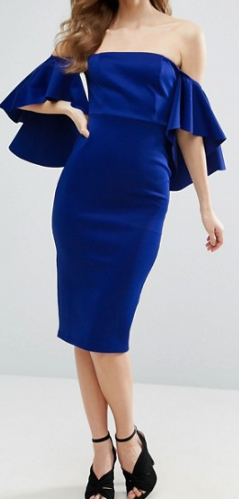 Clemonte Dramatic sleeve cobalt blue midi dress