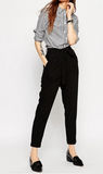 Clemonte black Woven Peg Trousers with OBI Tie