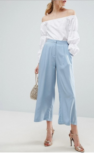 Clemonte ice blue Pleat Front Woven Culotte Trousers
