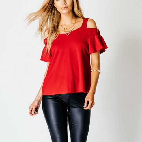 Clemonte Bardot off The Shoulder Red Top
