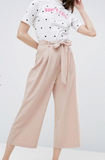 Clemonte pastel pink Tailored Culotte with Tie Waist