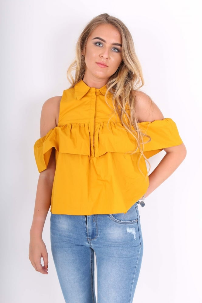 Clemonte Mustard Cold Shoulder Ruffle Top