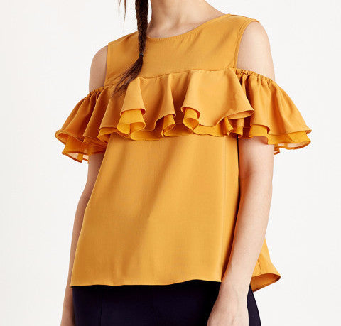 Clemonte Mustard Yellow Cold-Shoulder Top with Ruffles