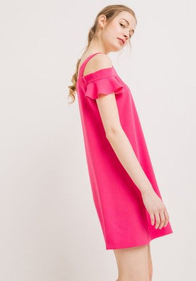 Clemonte fuschia pink dress with frilled shoulders