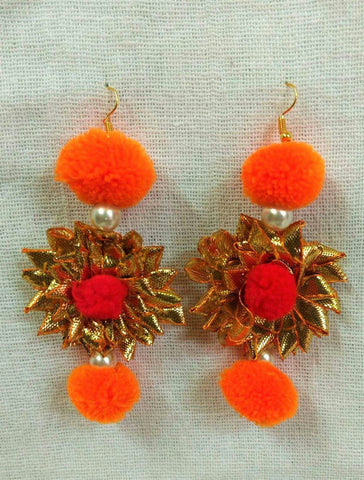Supushp Floral gota earrings with orange pompom