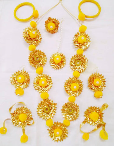 Supushp  Gota Patti full bridal Sets - yellow rose