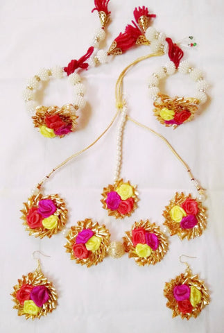 Supushp  Gota Patti full bridal Sets - multicolor roses with pearls