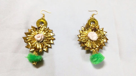 Supushp Floral mint green gota dangler earrings