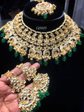 Viraasat emerald green choker set with earrings and maang tikka