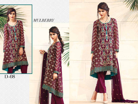 Baroque Fuchsia Chiffon Collection designer suit -mulberry