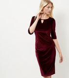 Clemonte  Dark Red Velvet Keyhole Midi Dress