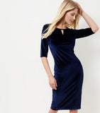 Clemonte  Dark Blue Velvet Keyhole Midi Dress