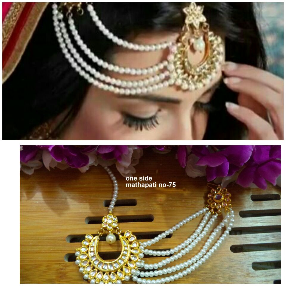 Bridal wedding kundan maang teeka mathapatti headgear - Pearl paasa