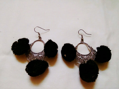Supushp oxidised silver black pom pom earrings