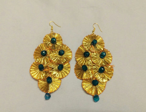 Supushp  teal blue beads gota dangler earrings