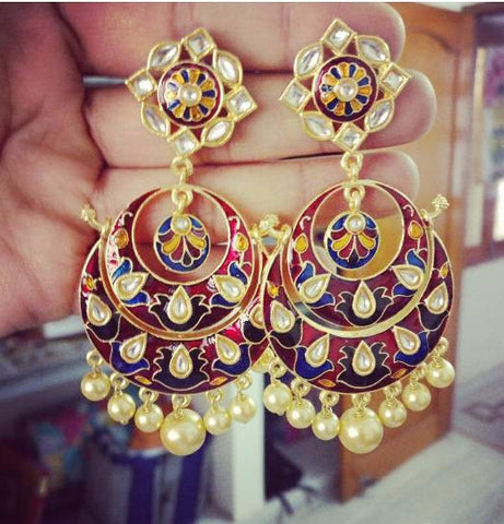 Red with yellow Gorgeous Meenakari Earrings