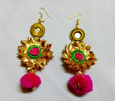 Supushp Floral pink rose gota earrings with pink pompom