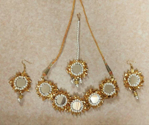 Supushp golden mirror gota jewellery set
