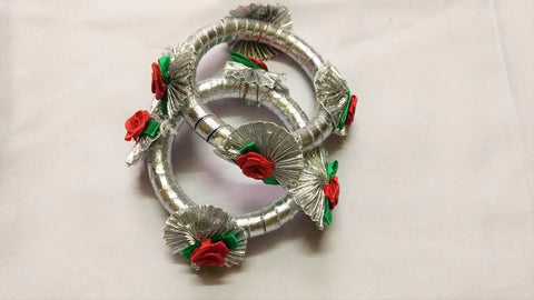 Supushp silver gota bangles with red roses -set of 2