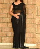 Black sequin border chiffon saree