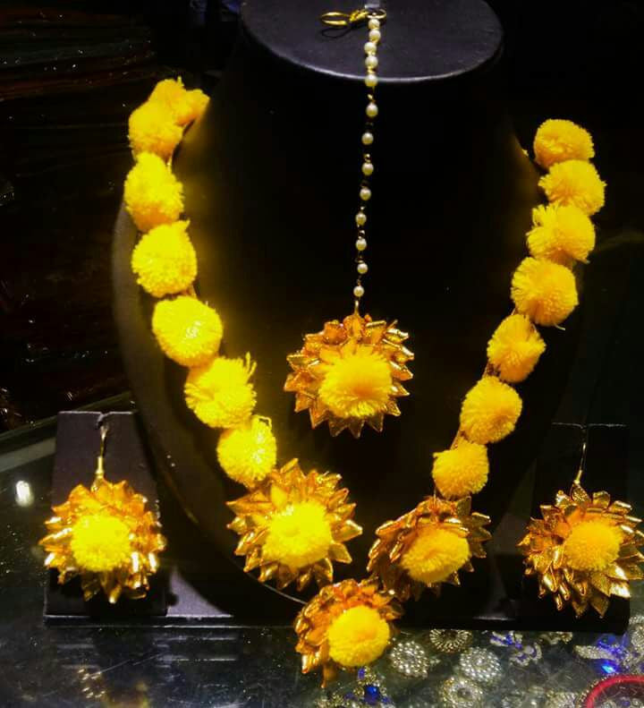 Bright yellow  floral jewellery set for brides wedding and mehndi