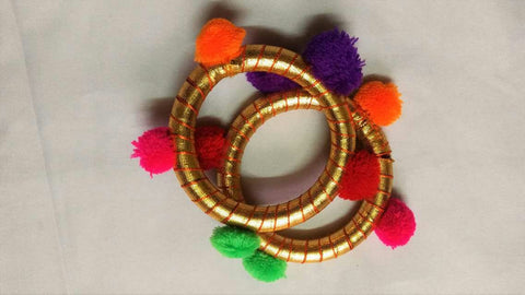 Supushp golden gota bangles with multicolor tassels -set of 2