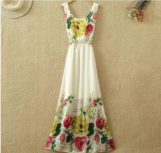 Clemonte Chiffon Floral Print Ladies Long Dresses
