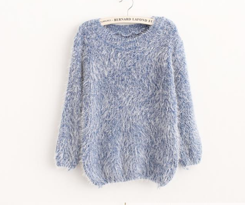 Mohair plush winter pullover blue