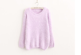 Mohair plush winter pullover lavender